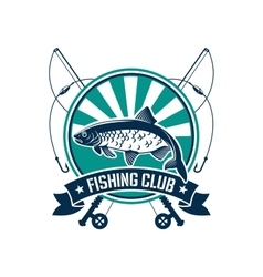Fishing sport round emblem for fisherman club icon vector