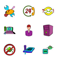 Webmaster icons set cartoon style vector