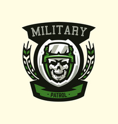 Logo emblem military theme skull helmet vector