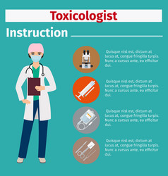 Medical equipment instruction for toxicologist vector