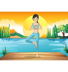 A girl doing yoga outdoor vector