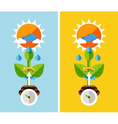 Flat design nature concept - plant growth vector