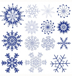 Set dark violet snowflakes vector