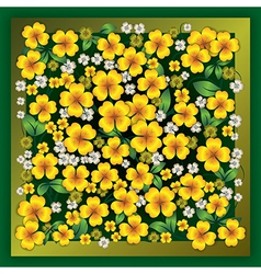 Abstract yellow floral ornament on green grunge vector