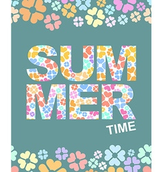 Summer time graphic with flowers background vector