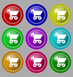 shopping basket icon sign symbol on nine round vector image