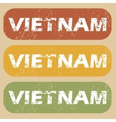 Vintage vietnam stamp set vector