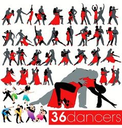 36 dancers silhouettes set vector