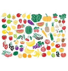 Vegetables and fruits color vector