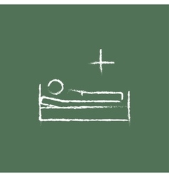 Patient lying on the bed icon drawn in chalk vector