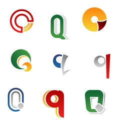 Set of alphabet symbols and elements of letter q vector