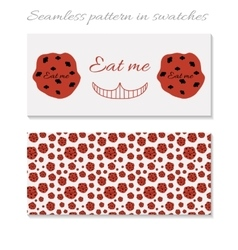 Cards eat me cookie from wonderland vector