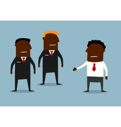 Powerful bodyguards guarding a businessman vector