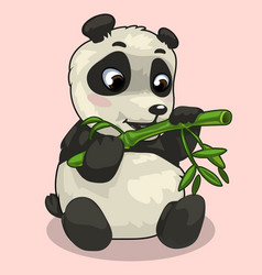 Baby panda with sprig of bamboo on pink background vector