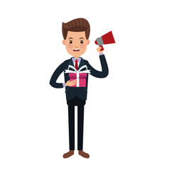 Businessman character holding speaker and gift box vector