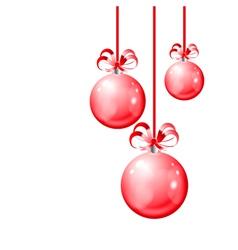 Christmas balls hanging with ribbon bows vector image
