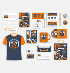 Construction company corporate identity set vector