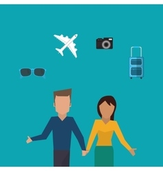 Couple holding hands traveling image vector