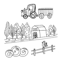 Doodle farm tractor vector