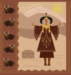 Ethnography of the steppe nomads and buddhi vector