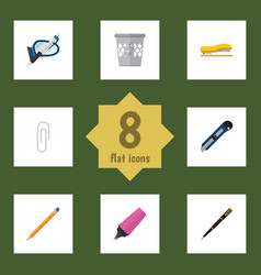 flat icon tool set of supplies knife fastener vector image vector image
