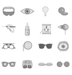 Ophthalmology icons set gray monochrome style vector