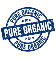 Pure organic blue round grunge stamp vector