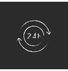 Service 24 hrs icon drawn in chalk vector