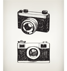 set of hand drawn vintage cameras vector image