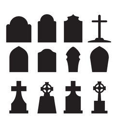 Set of headstone and tombstone silhouette vector