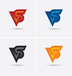 set of vs letters logo in four different colors vector image vector image