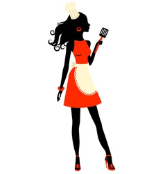 Silhouette cooking woman with spatula vector image