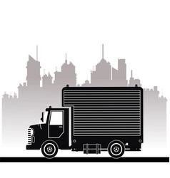 Silhouette truck commercial service urban vector
