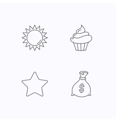 Sun star and cupcake icons vector image
