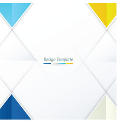 template triangle design blue yellow blue vector image vector image