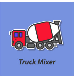 Truck mixer color flat icon vector