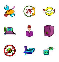 Webmaster icons set cartoon style vector