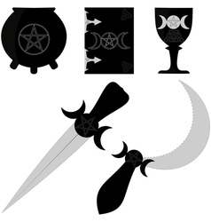 wiccan attributes vector image