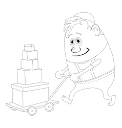 Worker with hand cart contour vector image vector image