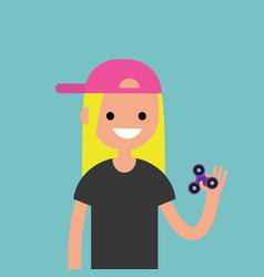 Young female character spinning a hand toy stress vector