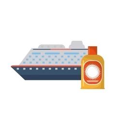 Cruise ship and sun block icon vector