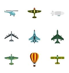 Combat aircraft icons set flat style vector image