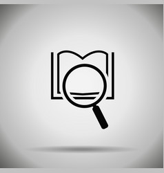 Search book icon magnifier and book symbol vector