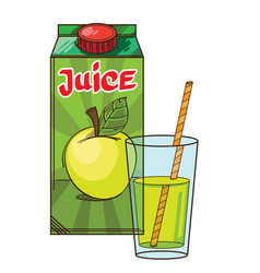 Set of package with apple juicy and glass near vector