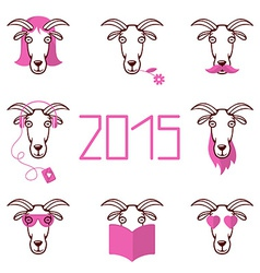About the new year 2015 set heads of goat wi vector