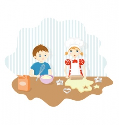 Boy and girl baking cookies vector