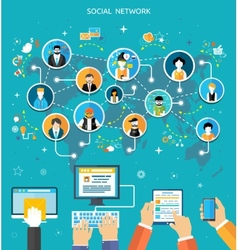Social media network connection concept vector