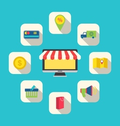 Flat icons of e-commerce shopping symbols vector