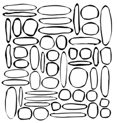 Hand-drawn round and ellipse shapes over white vector