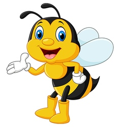 Adorable bee presenting isolated vector